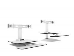 Jet-Line Height-Adjustable Desktop-tower / workstation, white for 2 screens